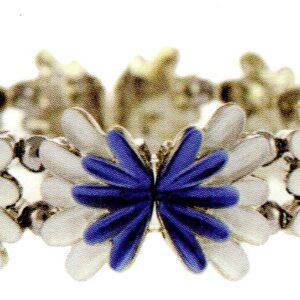 Blue & pale Blue Floral Magnetic Bracelet