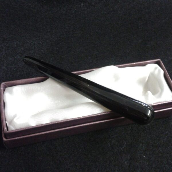 10cm Boxed gently curved Black Obsidian wand