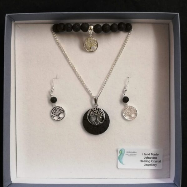Lava rock & Tree of Life Charm necklace