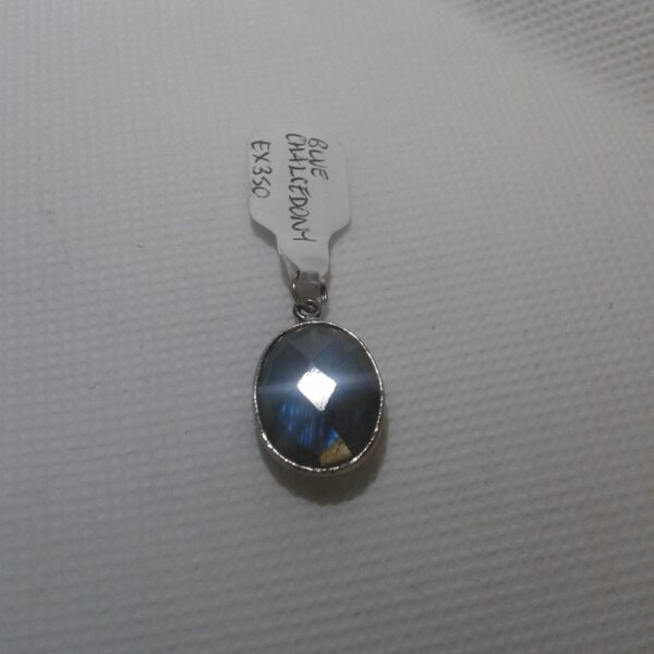 Silver Blue Chalcedony Oblong pendant