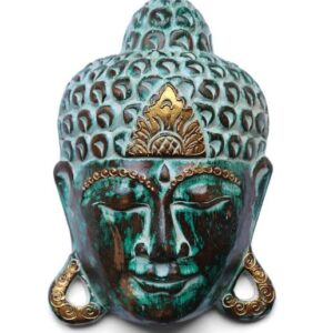 Green Verdigris Buddha Face Plaque