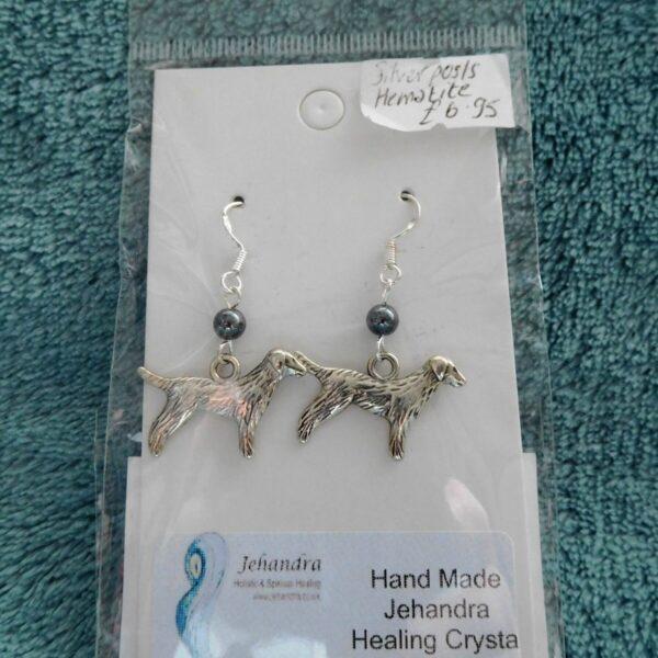 Dog Hemamtite Crystal Earrings