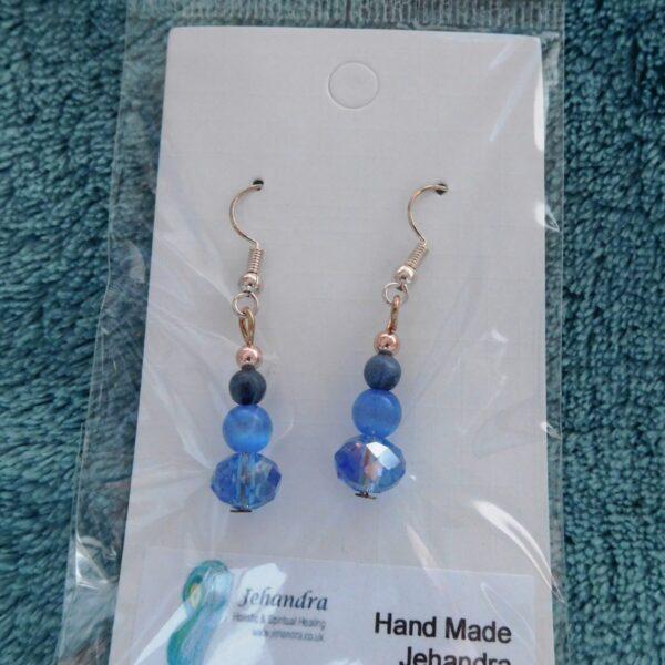 Blue Bead Sodalite Crystal Earrings