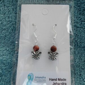 Butterfly Charm Goldstone Crystal Earrings