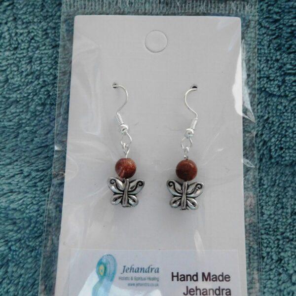 Butterfly Charm Goldstone Crystal Earrings