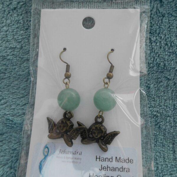 Cherub Charm Jade Crystal Earrings