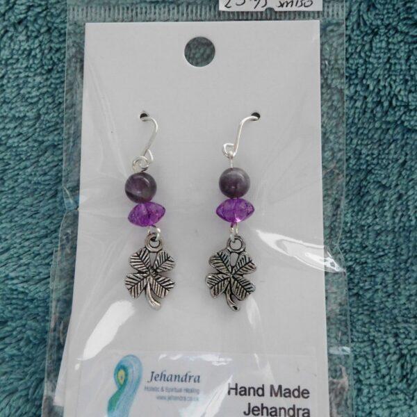 Clover charm & Amethyst Crystal earrings