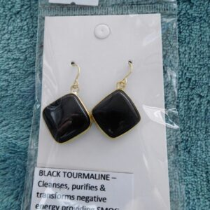 Cushion Black Tourmaline Crystal Earrings