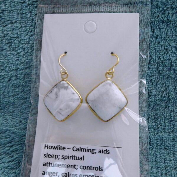 Cushion Howlite Crystal Earrings
