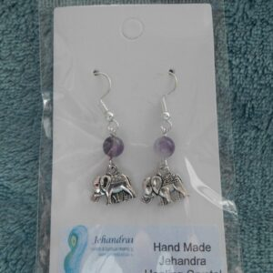 Elephant Amethyst crystal earrings