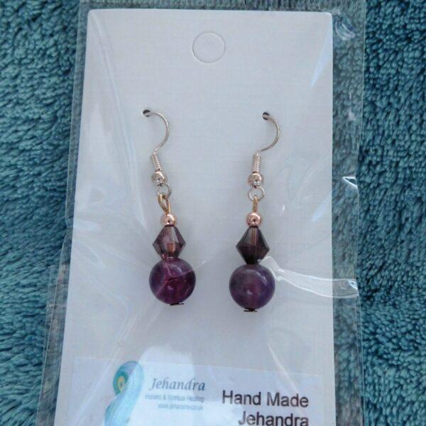 Purple Agate Crystal Earrings