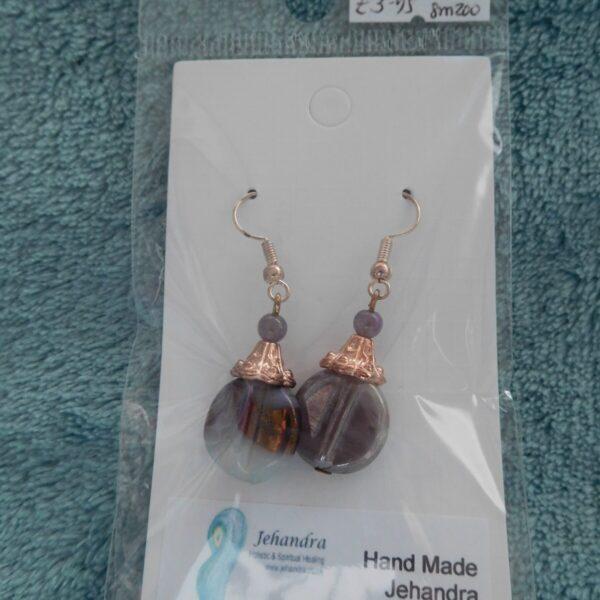 Rose Gold Amethyst Crystal Earrings