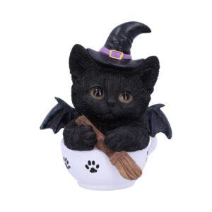 Black cat in tea cup