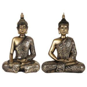2 Gold Antique Sitting Buddha